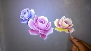 3 How to Painting Roses on Fabric Dresses, seni lukis kain motif bunga mawar cara dan tutorial