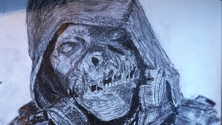 Timelapse Drawing of Scarecrow from Batman Arkham Knight game