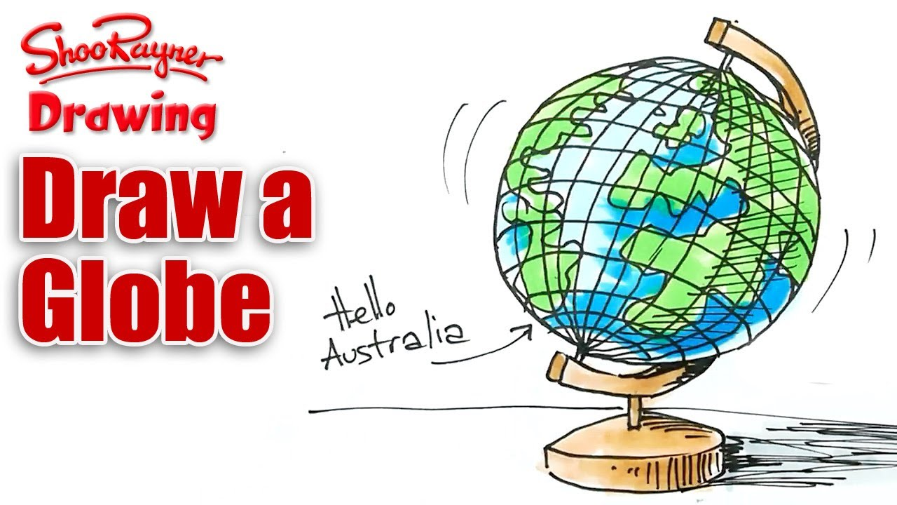 How to draw a globe real easy youtube for Easy to draw earth