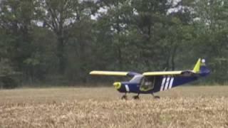 Sport pilot flies light airplane from farm field in the Zenair STOL CH 701