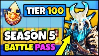 BUYING THE *NEW* SEASON 5 BATTLE PASS - SHOWCASE ALL 100 TIERS | Fortnite Season 5 Skins