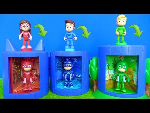 Pijamaskeliler dönüştürme oyun seti ile Connor Kedi Çocuk Amaya Baykuş Kız Romeo maymuna dönüşüyor