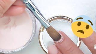 Baño de acrílico en mis uñas naturales + diseño francés / el diseño más difícil de mi vida