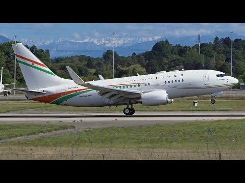 [FullHD] Niger Government Boeing 737-700BBJ landing & takeoff at Geneva/GVA/LSGG