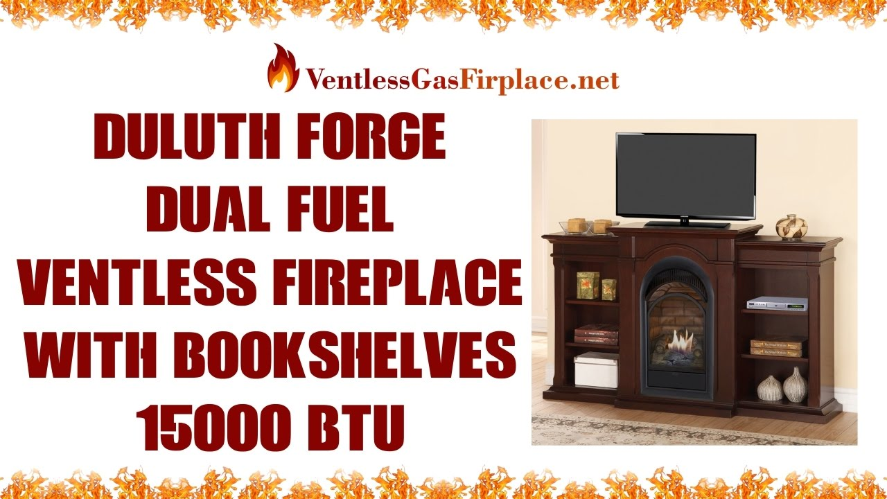 duluth forge dual fuel vent free fireplace with bookshelves