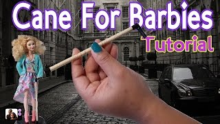 DIY How To Make A Cane/Walking Cane For Barbie Doll Tutorial