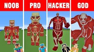 Minecraft: NOOB vs PRO vs HACKER vs GOD: COLOSSAL TITAN Statue Build Challenge in Minecraft