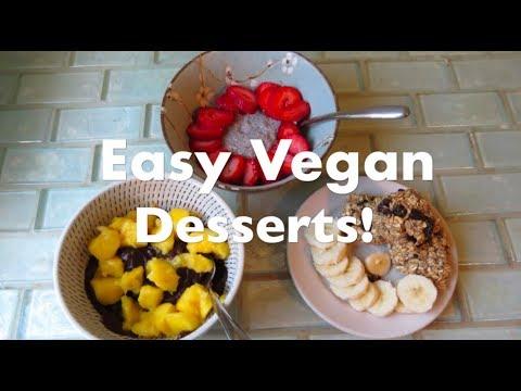 HEALTHY VEGAN DESSERTS (chocolate avocado pudding, chia seed pudding, banana oatmeal cookies)