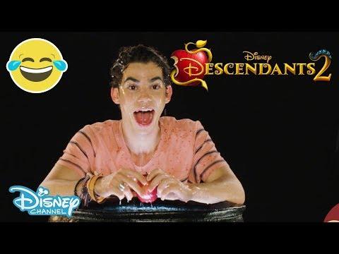 Descendants 2 | 🍎 Halloween Apple Bobbing Challenge ft. Cameron Boyce | Official Disney Channel UK