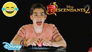 Descendants 2 | 🍎 Halloween Apple Bobbing Challenge ft. Cameron Boyce | Official Disney Channel UK