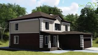 Тирелл E-005. Проект двухэтажного дома с пристроенным гаражом и террасой, на 5 спален