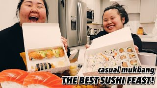 GIANT SHRIMP ROLL SUSHI + SPICY TUNA ROLL + OCTOPUS + CALIFORNIA ROLL MUKBANG 먹방 EATING SHOW