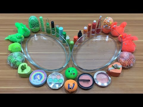 GREEN SLIME VS ORANGE SLIME !!! Mixing Makeup and Floam into Clear Slime   Relaxing Satisfying Slime