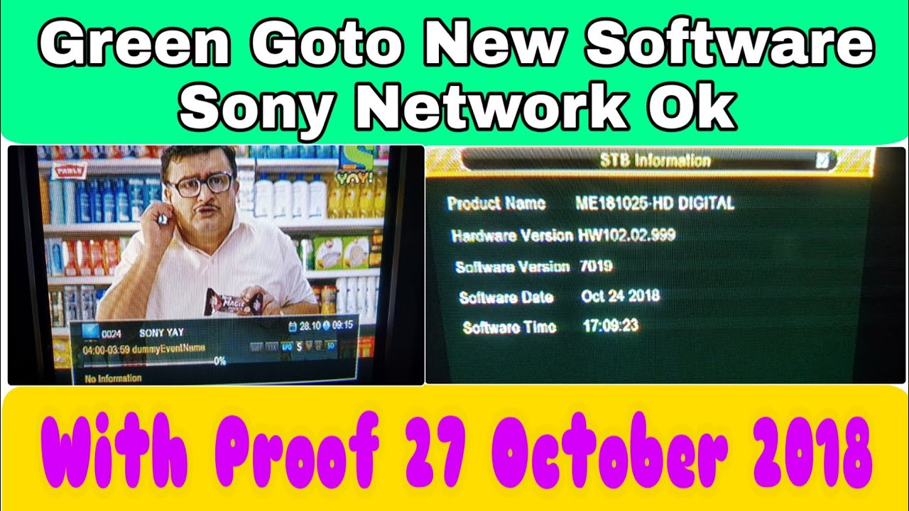 27 October 2018 Sony Network New Powervu Key Software For Green