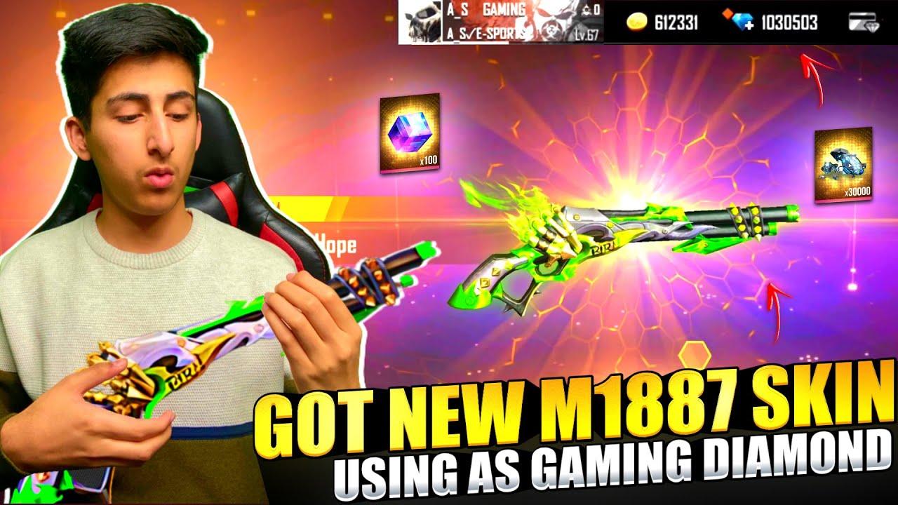 Got New M1887 Skin ? Using A_s Gaming Diamonds ? Wasting 10,000 Diamond - Garena Free Fire