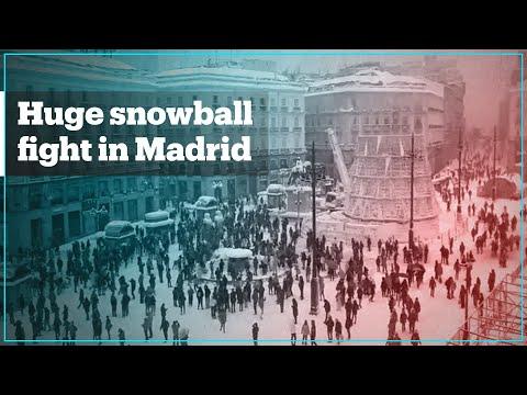 Mass snowball fight in Madrid