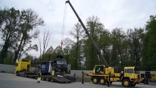 Pomoc Drogowa, Holowanie, Auto Pomoc Szkwarek  Świecko, A2, Niemcy - Załadunek rozbitego ciągnika si