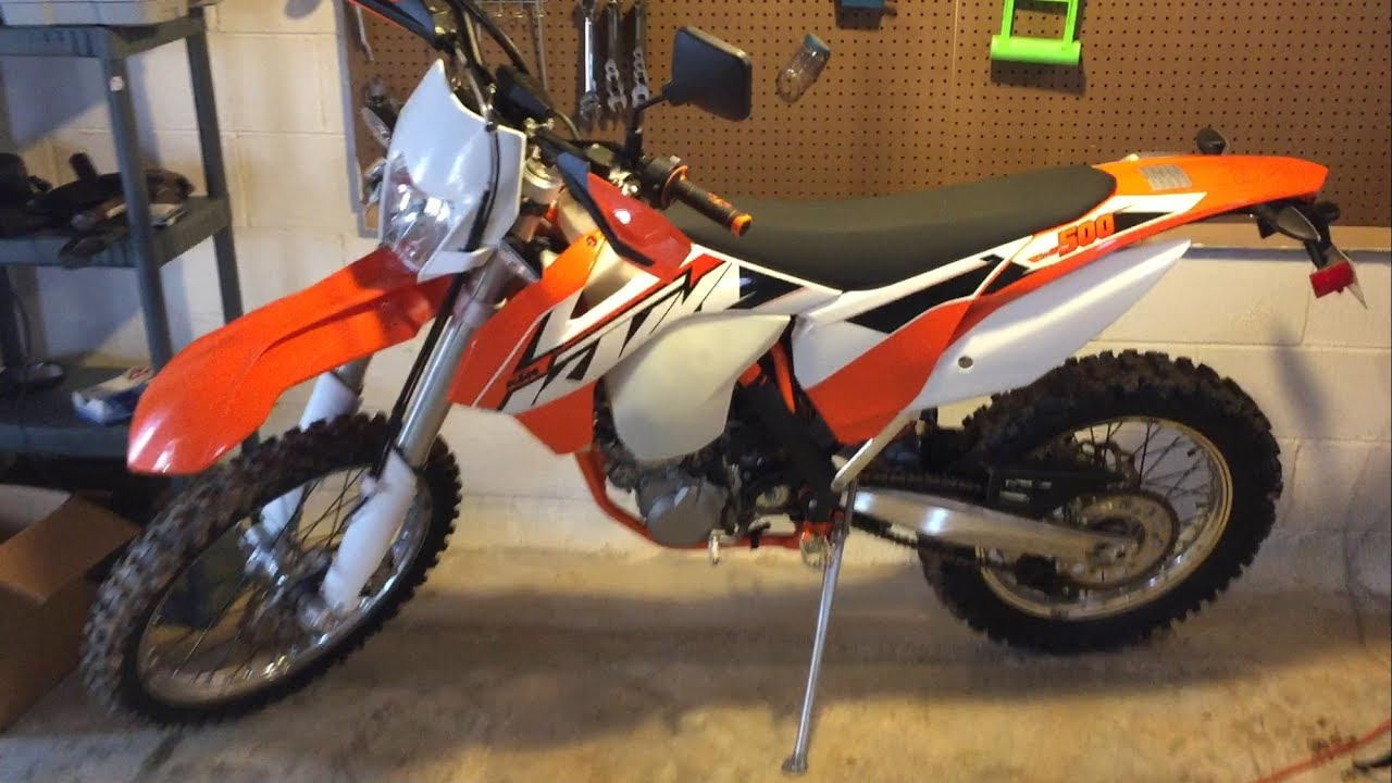 2015 KTM 500 exc fuel injection demo  Cold start  41 miles on the OD  Love  this bike!