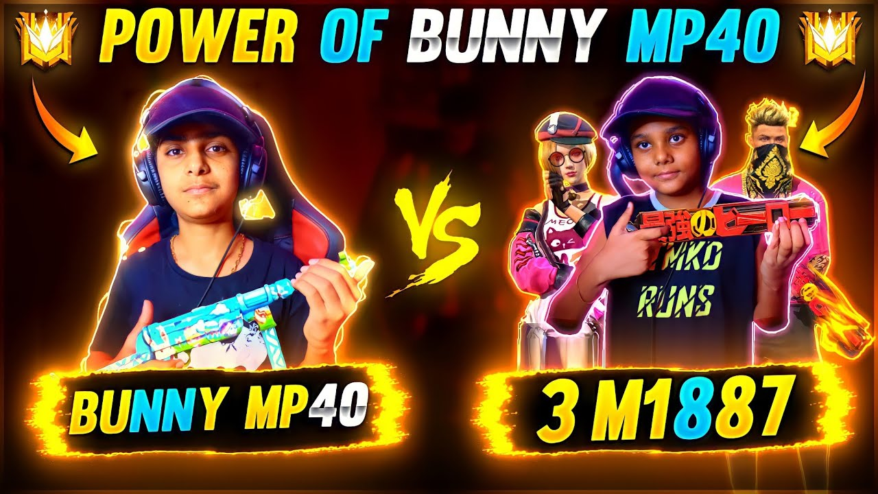 Power Of Bunny Mp40 😎🔥 Vs 3 M1887 Players 🤬 - Garena Free Fire