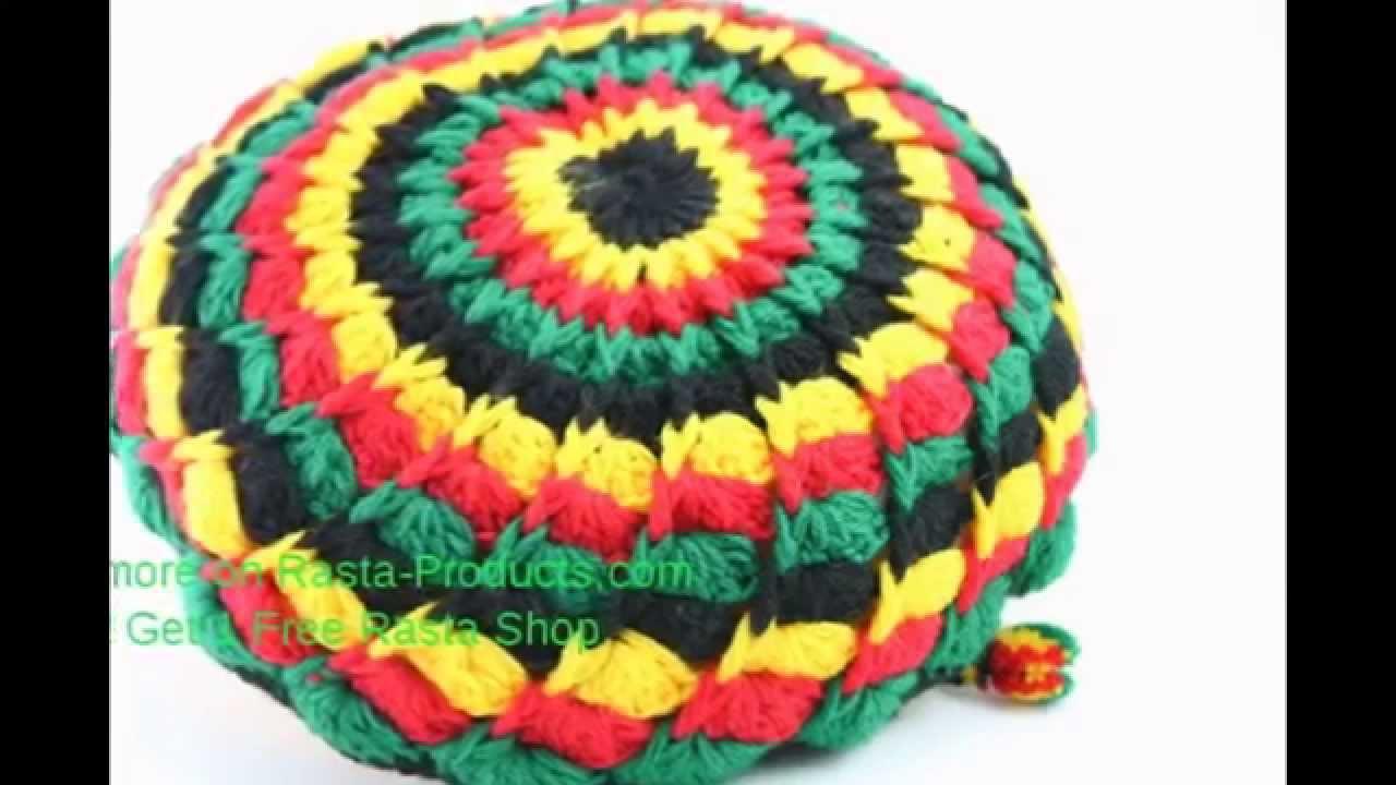 Crochet Rasta Tam Hat Dreadlocks Cap Style Green Yellow Red Reggae