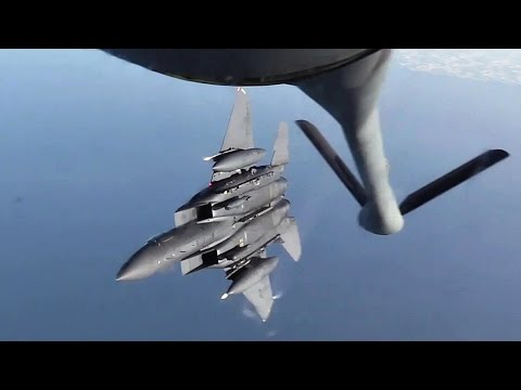 KC-135 Stratotanker in Action - Aircraft Air Refueling