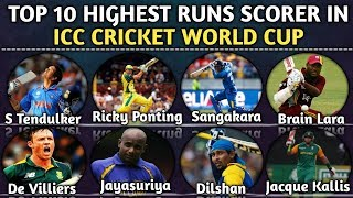 Top 10 Highest Runs Scorer In ICC Cricket World Cup From 1975 To 2015 | Most Runs In icc World Cup