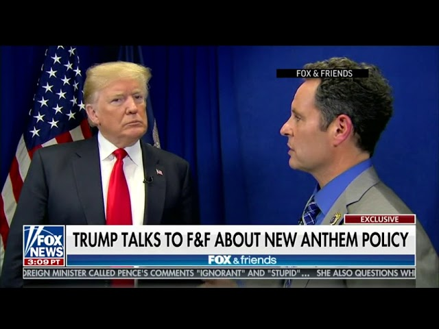 In a Fox and Friends interview, U.S. President Donald Trump praised the NFL for its new policy requiring players to stand during the national anthem. (The Associated Press)