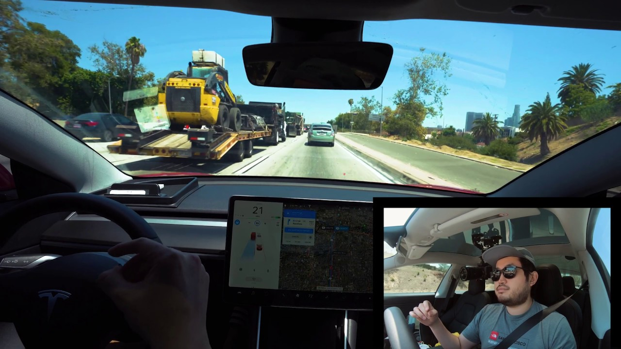 Tesla Model 3 Autopilot FSD BETA Local Roads and Highway   Los Angeles