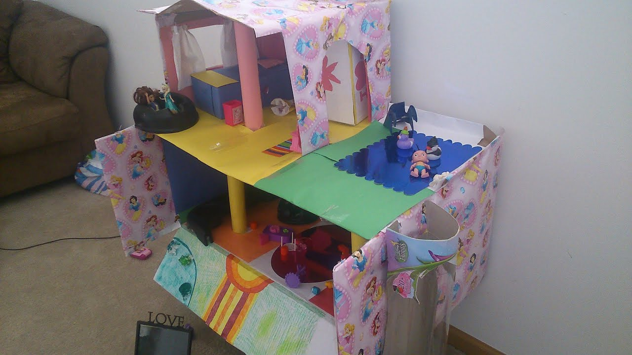 how to make doll house with cardboard (swimming pool) - youtube