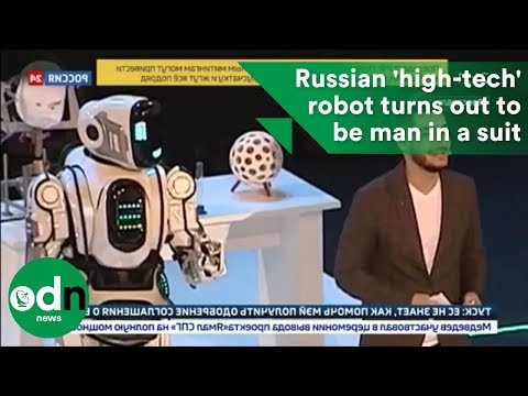 Russian 'high-tech' robot turns out to be man in a suit