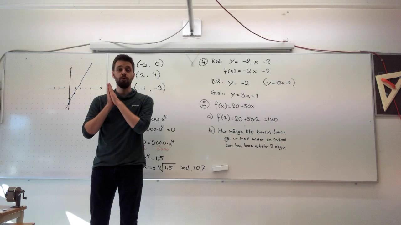 Lösningar till provet i funktioner, matematik 1b