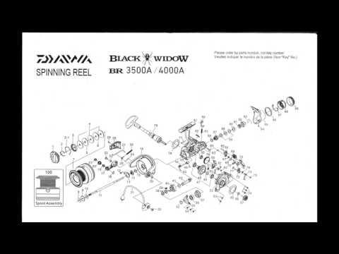 Daiwa Black Widow BR 3500A / 4000A Spinning Reel Schematics ... on