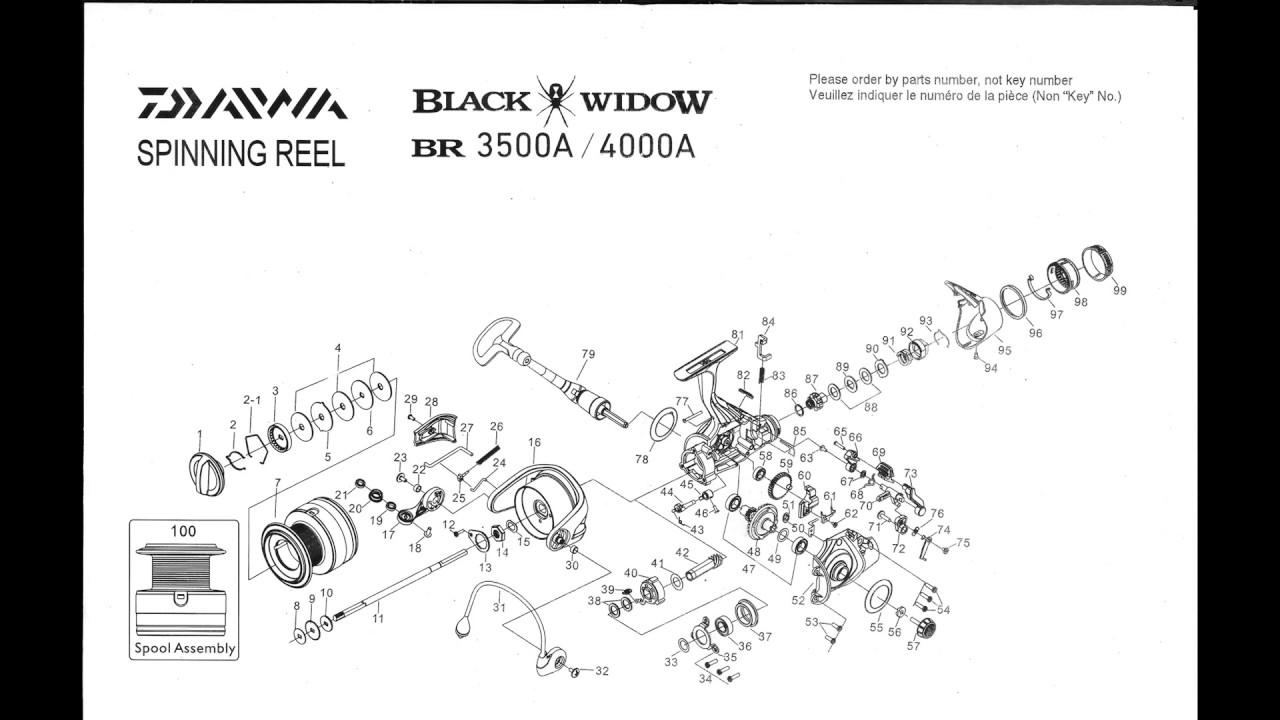 daiwa black widow br 3500a    4000a spinning reel