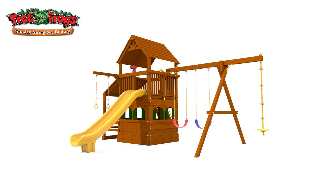 Tree Frogs Wooden Swing Set Factory 5 5 Bengal Fort With Snack Bar