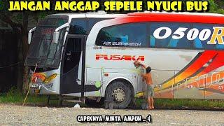 Serba MANUAL , Begini CAPEKNYA nyuci bus Pusaka Jetbus sebesar ini