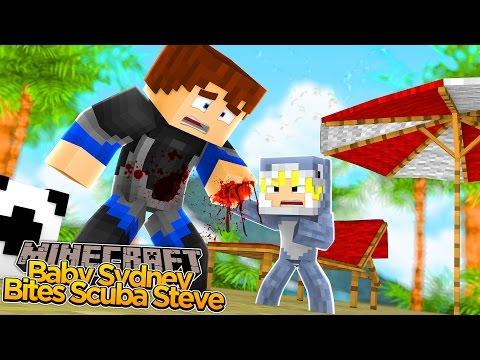Minecraft - BABY SYDNEY BITES SCUBA STEVE!!!