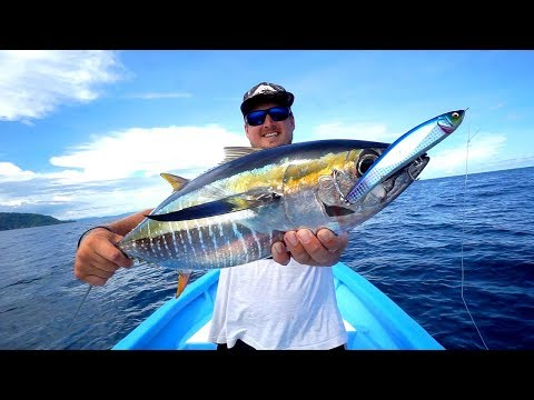 INSANE Yellowfin Tuna Fishing W/ Bass Tackle!!! (INITIATED)