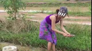 WOOWW lihat cara gadis cantik mencari ikan di sawah