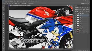 Membuat sketsa motif decal bertema sonic dengan photoshop di CBR 250RR