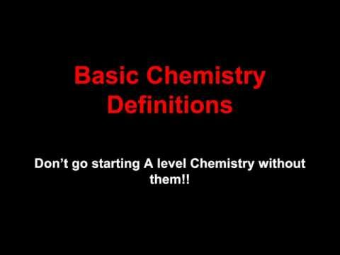 Basic Chemistry Definitions