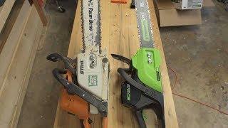Greenworks 80v Chainsaw vs Stihl Farm Boss 290
