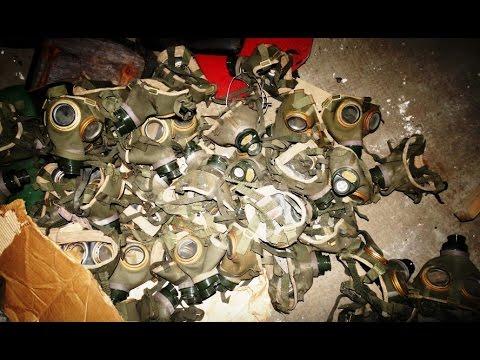 Hundreds of Gas Masks from Cold War Bunker - Urban Exploration
