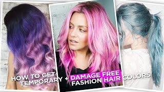 How To Get Temporary, Damage Free, Fashion Hair Colors !(As some of you guys know, I Finally dyed my hair PINK, In this video I'll show you how to get Temporary, Damage free Fashion colors that you can wash out with ..., 2016-05-07T20:00:00.000Z)