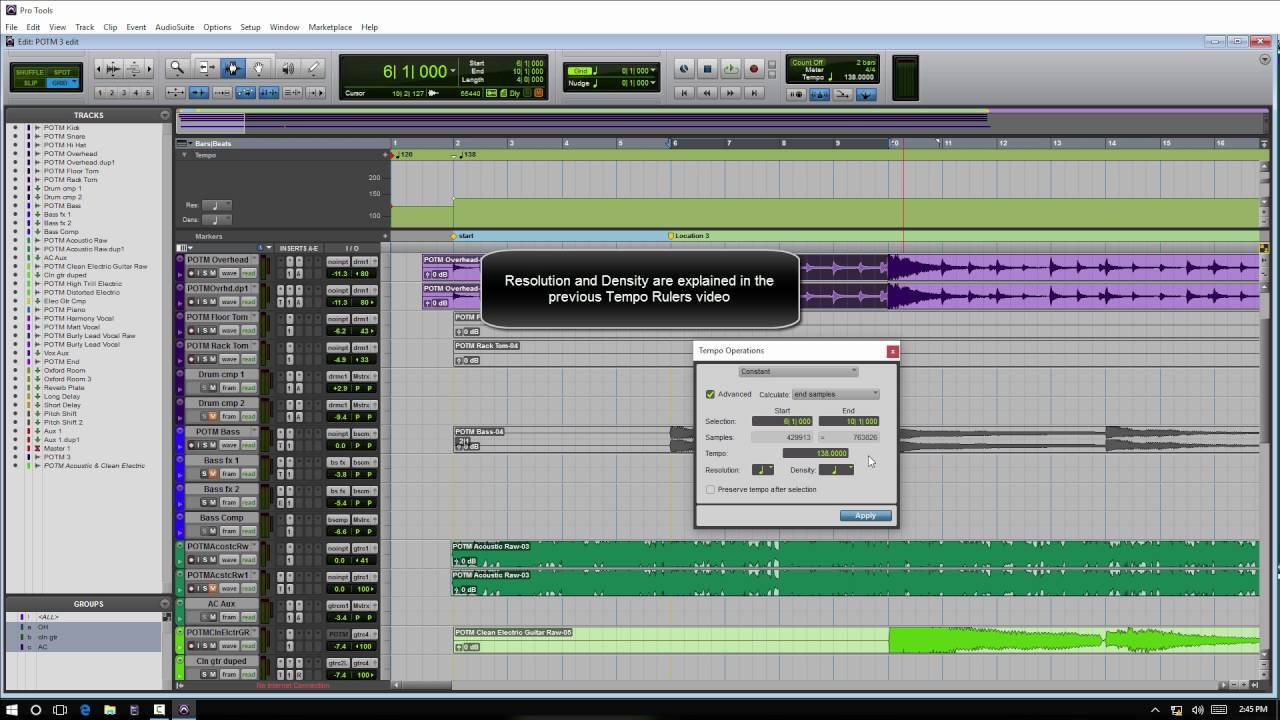 Using The Tempo Operations Window. Pro Tools PC