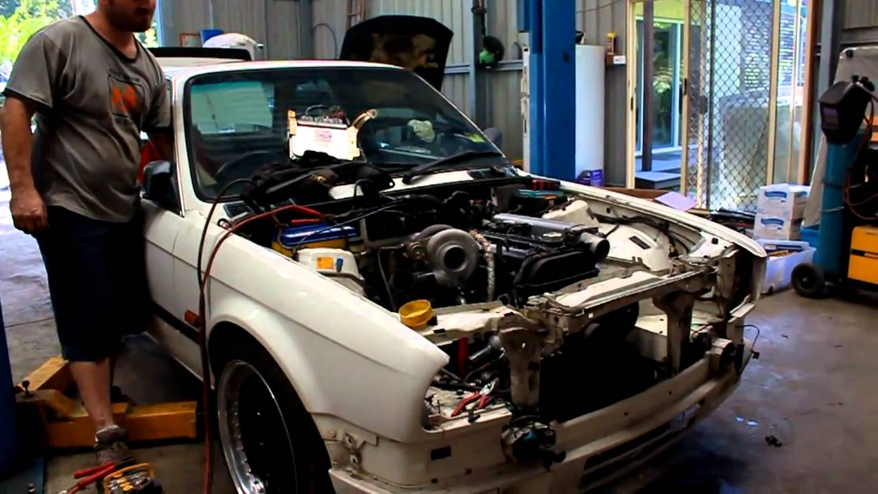 BMW Convertible toyota bmw alliance 2JZ Turbo BMW e30 first start up - YouTube