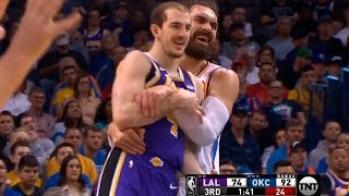 Steven Adams & Alex Caruso have fun during the game | Thunder vs Lakers
