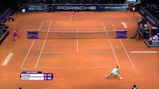 Sara Errani (ITA) vs Simona Halep (ROU) 24 April 2015 - Porsche Tennis Grand Prix 2015