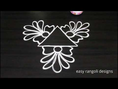 Simple muggulu freehand by easy rangoli designs || Beginners kolam