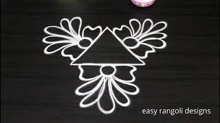 Simple muggulu freehand by easy rangoli designs || Beginners kolam