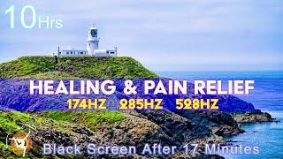 Solfeggio Healing Sleep Meditation 174hz 285hz 528hz - Ocean Sounds - 10 Hours Black Screen